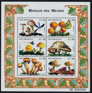 Nicaragua 2290 MNH Mushrooms, Insects
