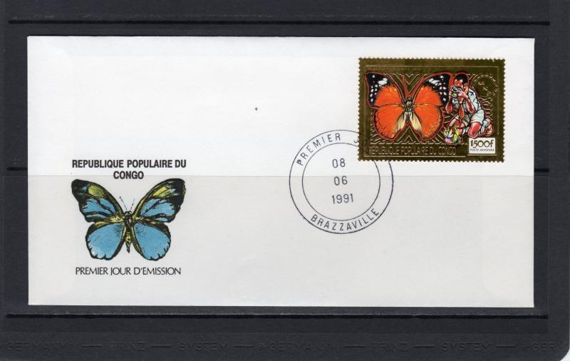 Congo People's Republic 1991 Sc#874B BUTTERFLIES/SCOUTS Gold Set (1) FDC