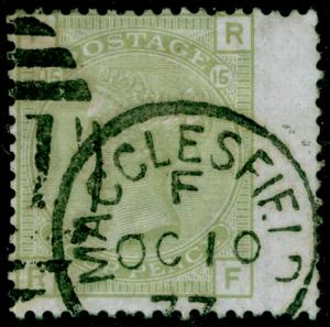 SG153, 4d sage-green plate 16, FINE USED, CDS. Cat £325. RF