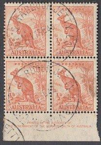 AUSTRALIA 1948 ½d Kangaroo imprint blk COFF'S HARBOUR JETTY cds............29447