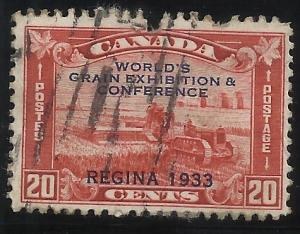 Canada 203 20c Used Fine Centering Nick out of top edge