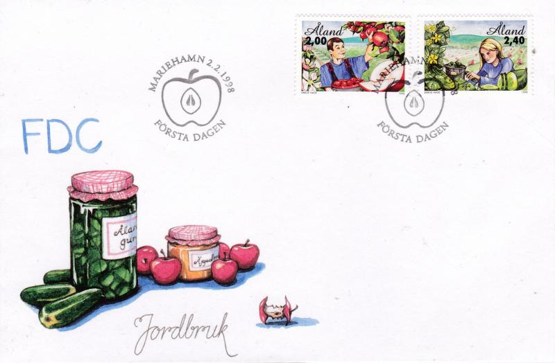 Aland 1998 Horticulture Apples & Cucumbers set on Unaddressed Fist Day Cover  VF