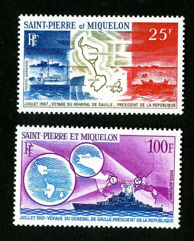 St. Pierre Stamps # C35-6 VF OG LH Catalog Value $61.00