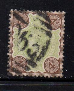 Great Britain Sc 116 1887 4d brown & green Victoria stamp used