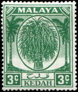 Malaya - Kedah SC# 63 SG# 78 Sheaf of Rice 3c MNH
