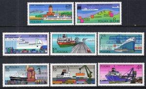 Poland MNH 2188-95 Polish Ports Ships 1976