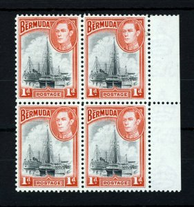 BERMUDA King George VI 1938 1d. Black & Red Block of Four SG 110 MNH