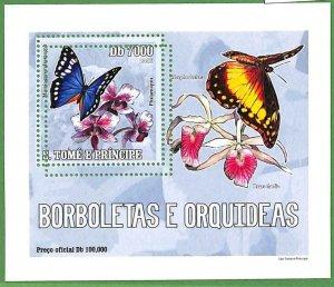 A0551 - S. TOME' & PRINCIPE -  ERROR  MISSPERF SHEET -  Butterflies ORCHIDS 2006