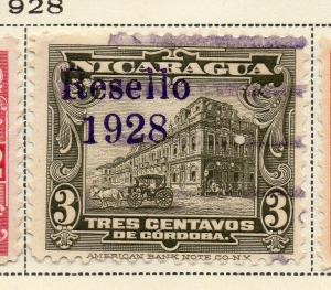 Nicaragua 1928 Early Issue Fine Used 3c. Optd 323657