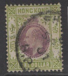 HONG KONG SG86 1904 $1 PURPLE & SAGE-GREEN USED