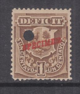 PERU, Postage Due, 1886, 1c. Bistre, ABN Punched Proof, SPECIMEN in Red, mnh.