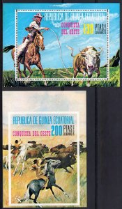 Equatorial Guinea 1974 Sc#7497/7498 CONQUEST OF THE AMERICAN WEST 2 S/S MNH
