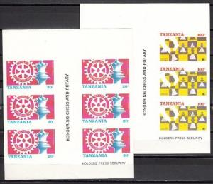 Tanzania, Scott cat. 304B-305 B. Rotary/Chess Gutter strip. Tanzania on Top IMPF