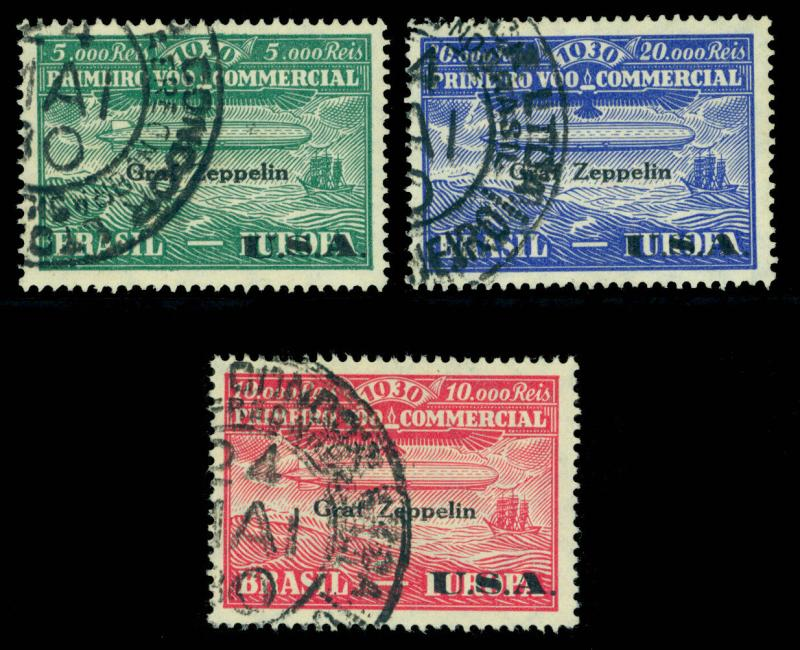 BRAZIL 1930 AIRMAIL - Graf Zeppelin overprinted set  Sc# 4CL8-10  used VF  - R