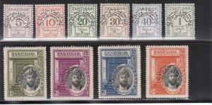 Zanzibar SG #J15s - #J23s & #214s - #217c Very Fine Never Hinged Specimen Set