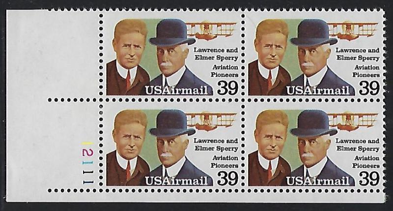 C114 Catalog Airmail Stamp Lawrence Elmer Sperry Aiation Pioneers 39 Cent FV