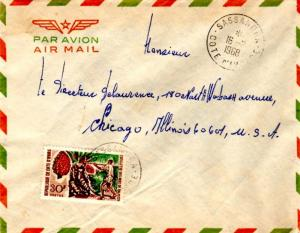 Ivory Coast 30F Cabbage Tree 1968 Sassandra, Cote d'Ivoire Airmail to Chicago...
