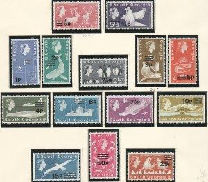 1971-1972 South Georgia MNH Penguins, Whales, Seals O/P complete set Sc# 17 / 30