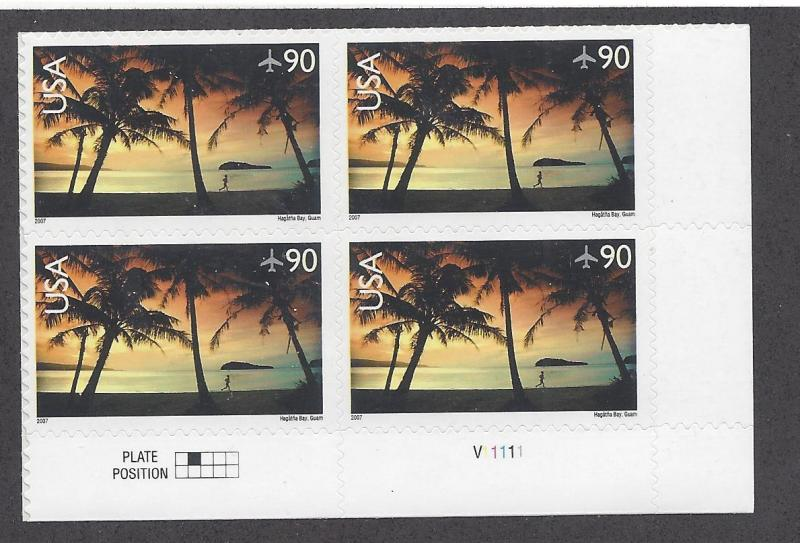 C143 Air mail Plate block 90cent Hagatna Bay Guam
