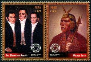 HERRICKSTAMP NEW ISSUES PERU Sc.# 1984 Bicentenary Setenant Pair