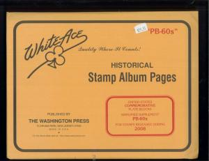 2008 White Ace U.S Commemorative Issue Plate Block Stamp Supplement Pages PB-60s