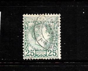 MONACO  1885  25c  BLUE GREEN   FU  SG 6