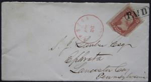Cover - Sc# 65 with Red Boston Cancel & Paid Killer to Ephrata Pa  S254