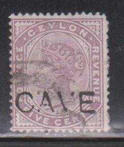 CEYLON Scott # 131 Used - Queen Victoria With CAVE Overprint