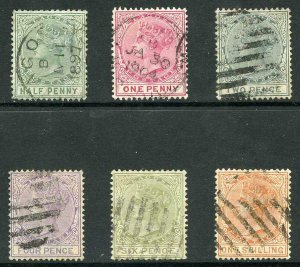 Lagos SG21/26 New Colours Wmk Crown CC Set to 1/- Cat 105.10 Pounds