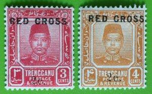 MALAYA TRENGGANU 1917  Red Cross 2c surcharge on 3c & 4c MLH SG#19 & 20 M3048