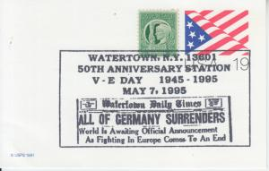 1995 WWII  VE Day 50th Anniversary Flag PC Watertown NY Pictorial
