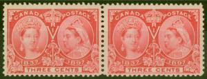 Canada 1897 3c Carmine SG126 Fine MNH Pair