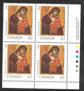Canada 1223: 43c Madonna and Child, plate block, MNH, VF
