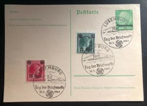 1941 Luxembourg Germany U boat Cancel First Day Mixed Frank Postcard Cover FDC