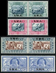 South West Africa SG105/08 1938 KGVI Voortrekker Commemoration Pairs Opt U/M