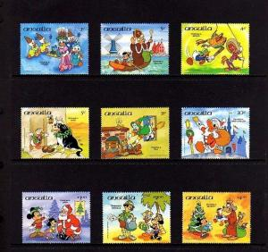 ANGUILLA - 1984 - DISNEY - CHRISTMAS CELEBRATIONS OF THE WORLD - 9 X MINT SET!