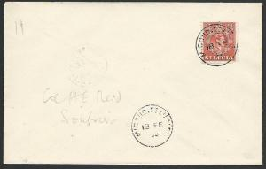 ST LUCIA 1955 cover MIGOUD cds, Soufriere arrival cds on reverse...........50183