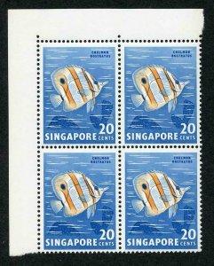 Singapore SG71b 20c variety Nick in Fin (1/1) in U/M Block Cat 21.75 pounds
