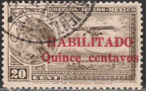 MEXICO C38, 15¢ ON 20¢ HABILITADO, PERFORATED. USED. VF. (1221)