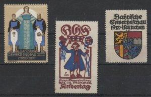 Germany Lot of 3 Trade Skills Expo Stamps Munich 1912, 2-NG, 1-MNH