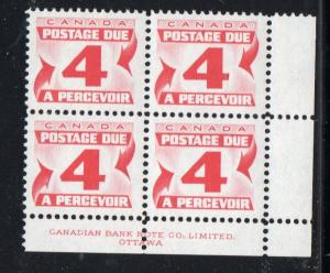 Canada Sc J24 1967 4c postage due stamp plate block of 4 LR mint NH