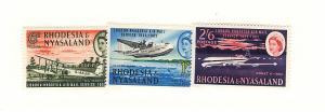 Rhodesia & Nyasaland, 180-82, Airmail Service Singles, MNH