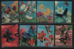 BHUTAN, 95-95G, (8) SET, MNH, 1968, BUTTERFLIES