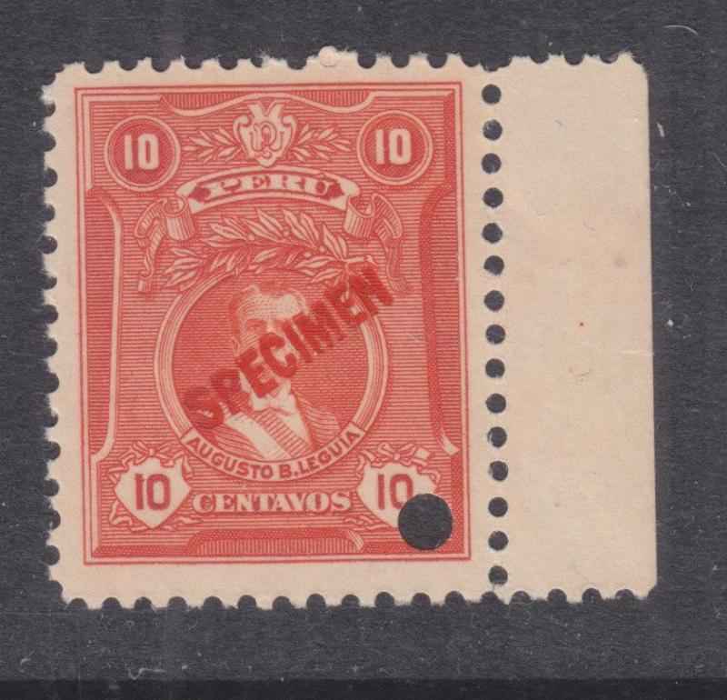 PERU, 1924 Leguia, 10c., ABN Punched Proof, SPECIMEN in Red, mnh