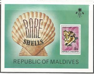 MALDIVES 793, MNH, SOUVENEIR SHEET, RARE SHELLS - VASUM TURBINELLUS