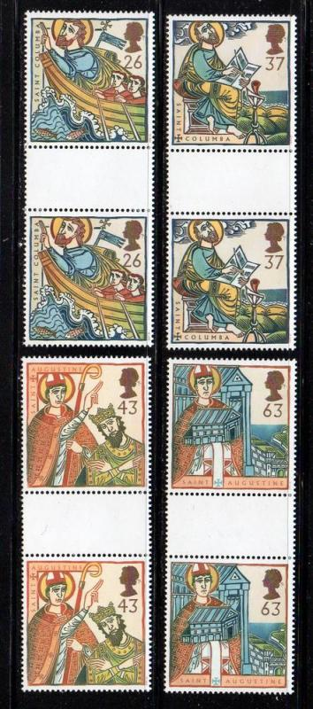 Great Britain Sc 1730-3 1997 Saint stamps gutter prs NH