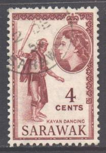 Sarawak Scott 199 - SG190, 1955 Elizabeth II 4c used