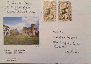 O) 1987 ETHIOPIA, SIMIEN FOX, CASTLES OF GONDAR - HERITAGE, LANDSCAPE, TO USA
