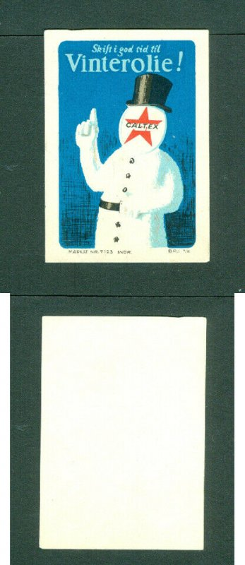 Denmark. Poster Stamp.  CALTEX. Winter Oil.  Snowman With Tophat.