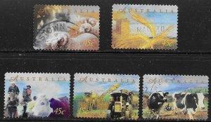 Australia #1656-60 used. Farming. Nice set.